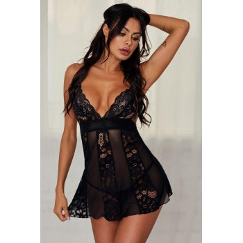 Red Floral Lace Mesh Splicing Babydoll Lingerie Black