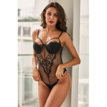 Sheer Eyelash Lace Teddy Bodysuit Black Red White