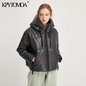 Vintage Warm Winter Faux Leather Jacket Padded Coat Women 2020 Fashion Long Sleeve Zip Pockets Drawstring PU Outerwear Chic Tops