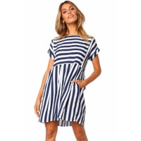 Black Striped Casual Dress Blue