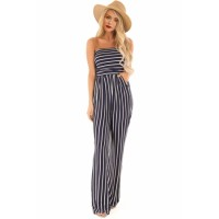 Blue White Striped Sleeveless Jumpsuit Black