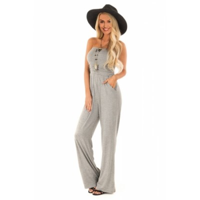 Gray Sleeveless Jumpsuit with Pockets