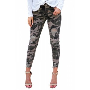 Like A Boss Distressed Camo Denim Pants