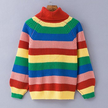 Rainbow turtleneck knitted striped oversized sweater