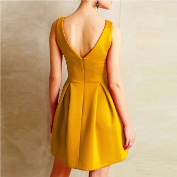 Sleeveless Deep V Neck Formal Short Mini Dress Red Yellow Purple