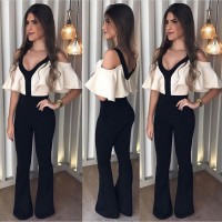 V-neck Jumpsuits White Top Black Shoulder Off Jumpsuit