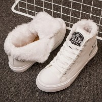 Warm Winter Sneakers PU Boots Lace Up Black White