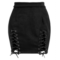 Lace Up Faux Suede Mini Skirt - Black