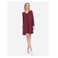 V Neck Dress - Wine Red