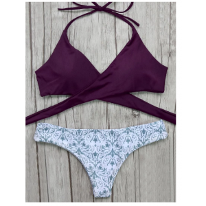 Wrap Tie Bikini Top and Baroque Print Bottoms - Burgundy