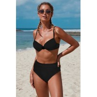 Black Underwire Bralette High Waist Bikini Set Yellow