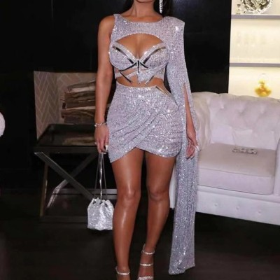 Missord 2020 Women Sexy Hollow Out Sequin Dresses Female Elegant Two Pcs Set Irregular Sleeve Split Mini Bodycon Dress FT20275
