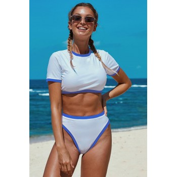 Red Two-piece Cropped T-shirt High Waist Swimwear Sky Blue