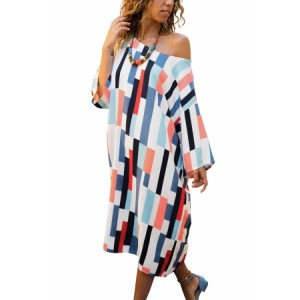 Blue Geometric Pattern Loose T-shirt Dress Multicolor