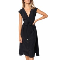 Chic V Neckline Buttons Design Black Midi Dress Green
