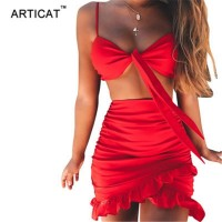 2 Piece Sets Sexy V Neck Strap Bodycon Summer Dress Women Ruffles Bow Tie Mini Dress