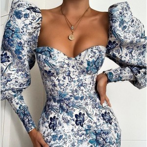 Floral Print Puff Sleeve Mini Autumn Dress Women Vintage Bodycon Sexy Party Dress Backless