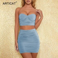 Ruched Bodycon Two Piece Set Dress Women Sexy Strapless Crop tops And Mini Dress 2 Piece Sets