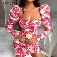 Floral Printed Dresses Women Puff Long Sleeve Square Neck Bodycon Mini Dresses