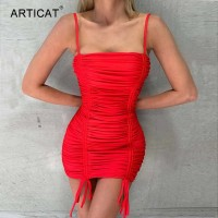 Sexy Spaghetti Strap Bandage Dresses For Women Backless Ruched Drawstring Bodycon Party Mini Dress