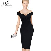 Elegant Solid Stylish Casual Work Strap Slash Neck Bodycon Knee Midi Women Formal Pencil Dress