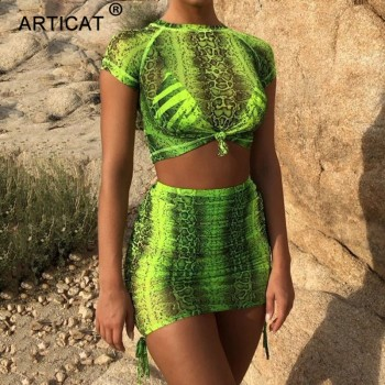 Two Piece Set Printed Summer Dress 2020 Lace Up Pleated Bodycon Bandage Dress Women Short Sleeve