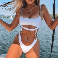 Chain sexy white swimsuit one piece bathing suit Brazilian bikini 2020 mujer Hollow out high cut swimwear women push up monokini
