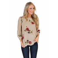 Apricot Button up Back Floral Blouse