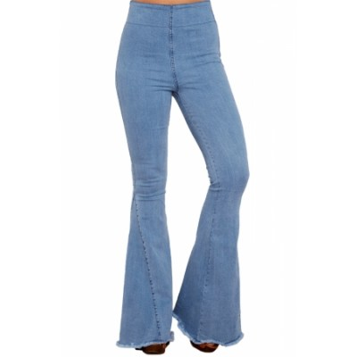 Blue Flare Jeans White