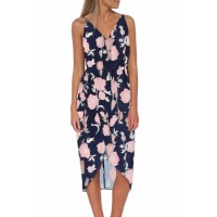 Blue V Neckline Sleeveless Floral Dress Light