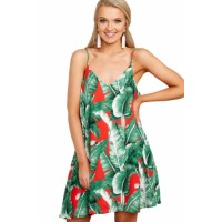 Fingers Crossed Dress In Green Palms