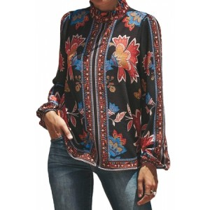 Flower Print Smocked Long Sleeve Blouse