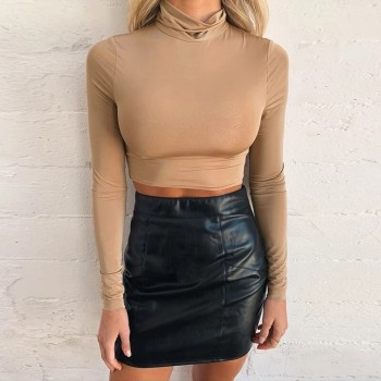 Autumn Sexy Bodycon Crop Top Women Long Sleeve Turtleneck Stretch Solid T Shirt
