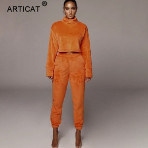 Autumn Winter Women Set Long Sleeve Turtleneck Tops And Pants Women 2 Piece Set Casual Warm Women's Suit Teddy Bear Set