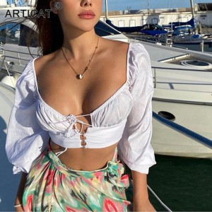 Beach Styles Summer Crop Tops Women Puff Sleeve Tassel Causal T Shirt Female Backless
