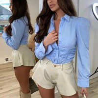 Turn-down Collar Ruched T Shirt Women Blue Long Sleeve Slim Crop Top Female Spring Single Breasted