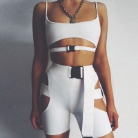 2 piece outfits Buckle two piece set top and pants
