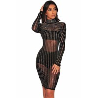Black Iridescent Rhinestone Mock Neck Long Sleeves Dress