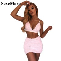 Faux Fur Pink Sexy Two Piece Set Halter Bralette Crop Top and Mini Skirt