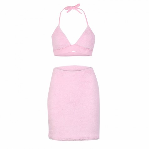 6dfcaf63cbc85 ... Faux Fur Pink Sexy Two Piece Set Halter Bralette Crop Top and Mini Skirt  ...