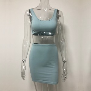 Women Crop Top And Skirt Set Two Piece 2 Layers