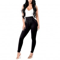 Lace Up Pencil Pants Women High Waist Skinny