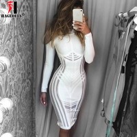 Mesh Patchwork Hollow Out Long Sleeve O Neck Knee Length Bandage Dress