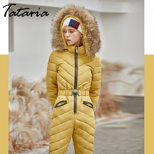 Details about  /Women One Piece Jumpsuits Padded Quilted Hooded Slim Skiing Suit Thick Warm