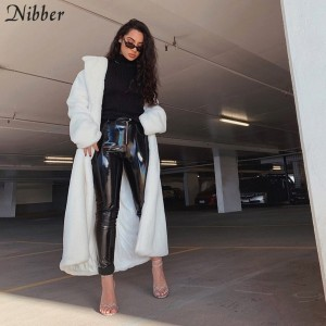 Nibber Winter High Quality Thick Warm Coats Female tops plush Jacket Women Luxury Christmas party long Fur Coat Elegant Overcoat