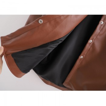 RR PU Leather Tie Belt Waist Coats Women Fashion Turn Down Collar Brown Jackets Women Elegant Pockets Coats Female Ladies JAB