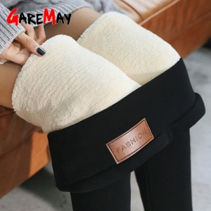 Black warm pants winter skinny thick velvet wool fleece girls leggings women Trousers Lambskin Cashmere Pants For Women leggings