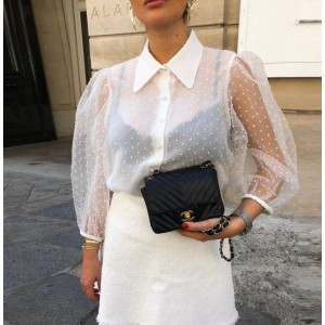 Women Mesh Sheer Blouse See-through Long Sleeve Top Shirt Blouse Fashion Pearl Button Transparent White Shirt Female Blusas