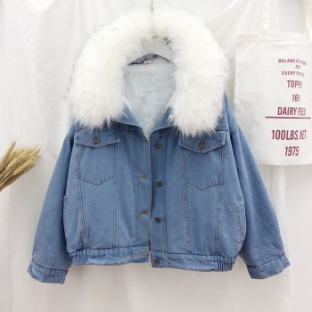 2019 velvet thick denim jacket female winter big faux fur collar Korea denim coat female student short coat