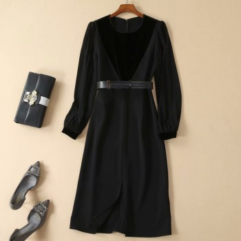 Long Dress Designer High Quality Autumn New Women's Fashion Work Party Sexy Sexy Elegant Chic Pencil Black Long Sleeve Dresses